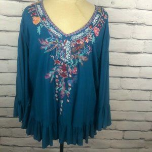 Grand & Greene Teal Plus Sz XL Embroidered Blouse